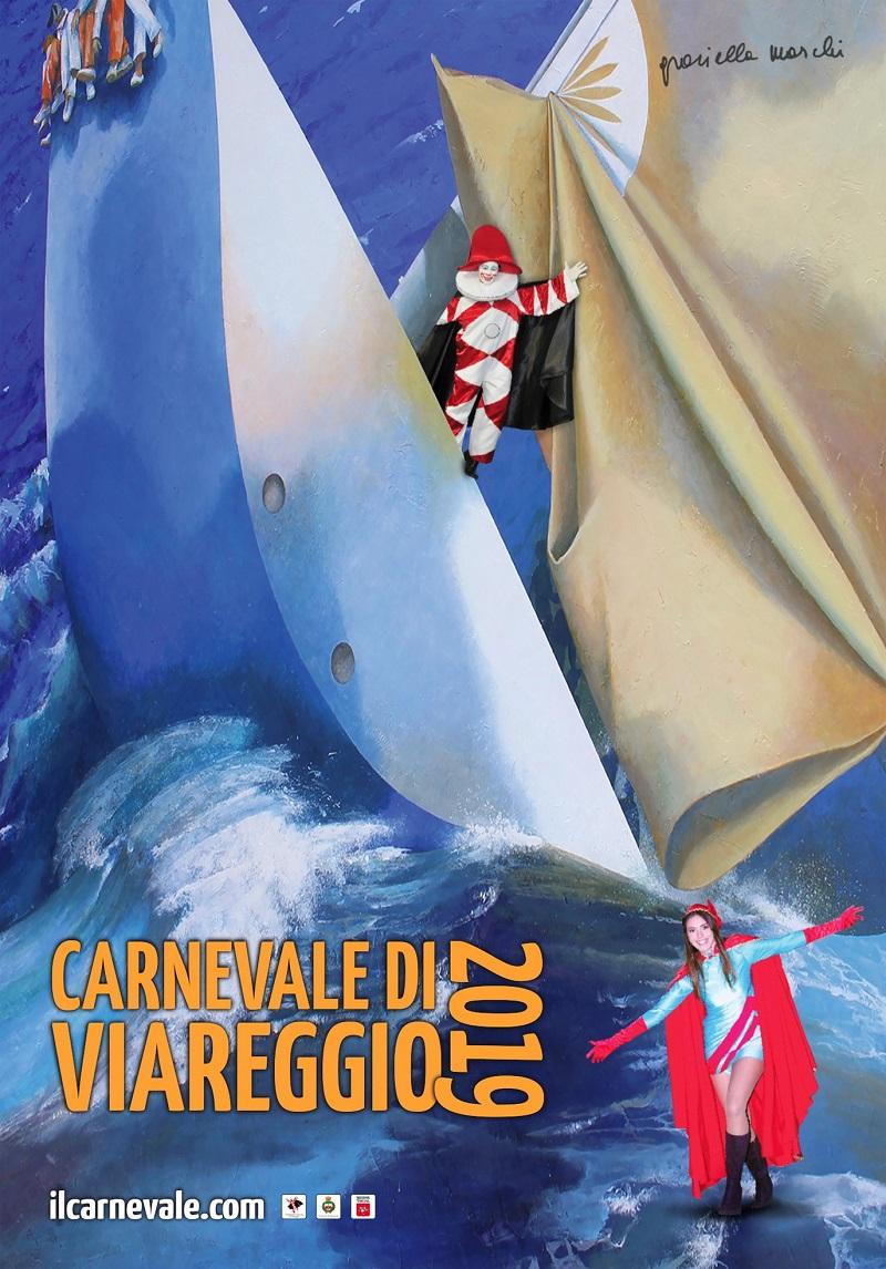 manifesto d'autore di Graziella Marchi Carnevale di Viareggio 2019